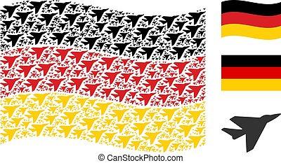 Waving German Flag Collage of Airplane Intercepter Items