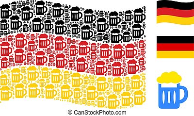 Waving German Flag Collage of Beer Glass Icons