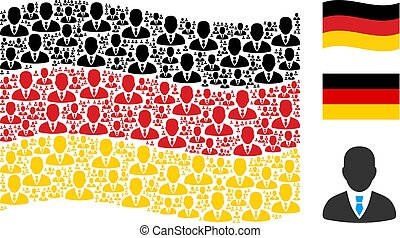Waving German Flag Collage of Businessman Icons