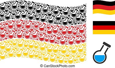 Waving German Flag Collage of Chemistry Tube Icons