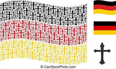 Waving German Flag Collage of Christian Cross Icons