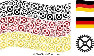 Waving German Flag Collage of Clock Gear Items