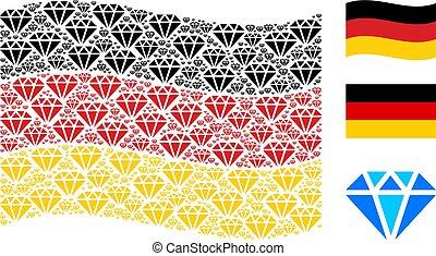 Waving German Flag Collage of Diamond Items