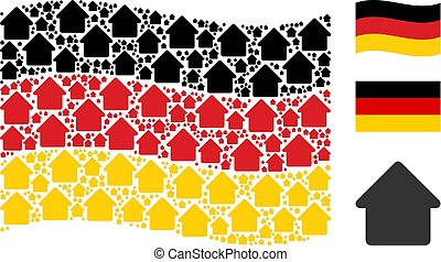 Waving German Flag Collage of House Icons
