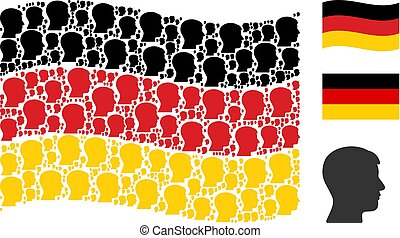 Waving German Flag Collage of Man Head Profile Icons