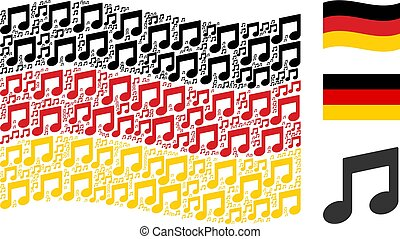 Waving German Flag Collage of Music Notes Items