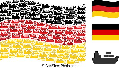 Waving German Flag Collage of Ship Icons