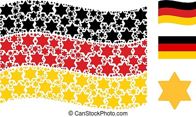 Waving German Flag Collage of Six Pointed Star Items