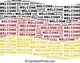 Waving German Flag Collage of Welcome Texts