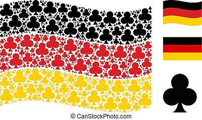 Waving German Flag Mosaic of Clubs Suit Icons