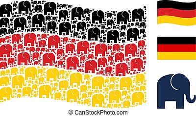 Waving German Flag Mosaic of Elephant Items