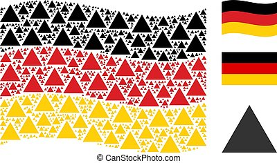 Waving German Flag Mosaic of Filled Triangle Icons