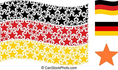 Waving German Flag Mosaic of Fireworks Star Icons