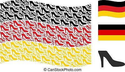 Waving German Flag Mosaic of Lady Shoe Items