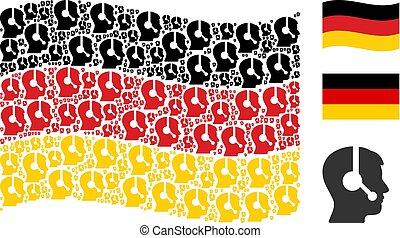 Waving German Flag Mosaic of Operator Icons