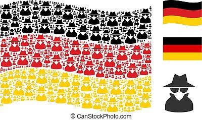 Waving German Flag Mosaic of Spy Icons