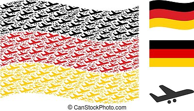 Waving German Flag Pattern of Aiplane Items