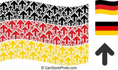 Waving German Flag Pattern of Arrow Direction Items