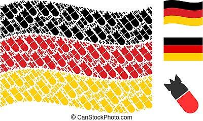 Waving German Flag Pattern of Aviation Bomb Items