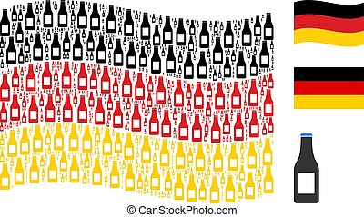 Waving German Flag Pattern of Beer Bottle Items