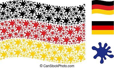 Waving German Flag Pattern of Blot Icons