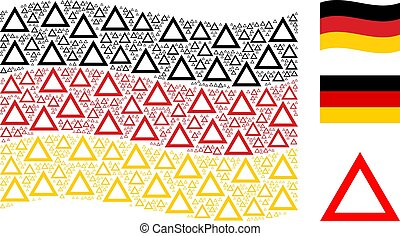 Waving German Flag Pattern of Contour Triangle Icons