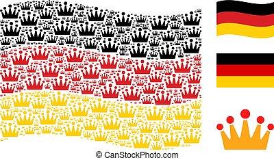 Waving German Flag Pattern of Crown Items