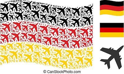 Waving German Flag Pattern of Jet Plane Icons