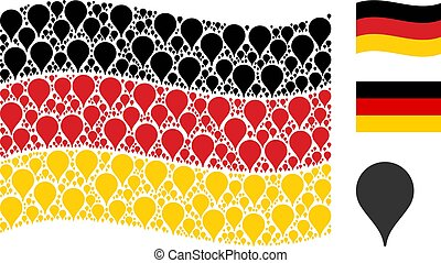 Waving German Flag Pattern of Map Pointer Items