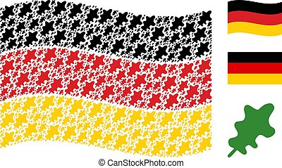 Waving German Flag Pattern of Oak Leaf Icons