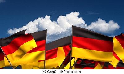 Waving German Flags (seamless & alpha channel)