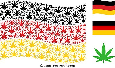 Waving Germany Flag Collage of Cannabis Items