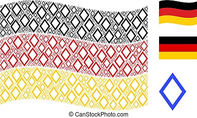 Waving Germany Flag Collage of Contour Rhombus Items