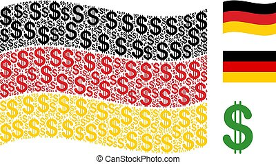 Waving Germany Flag Collage of Dollar Icons