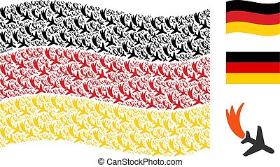 Waving Germany Flag Collage of Falling Airplane Icons