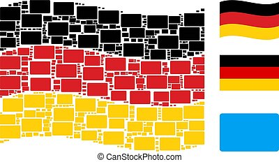 Waving Germany Flag Collage of Filled Rectangle Items