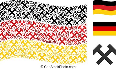 Waving Germany Flag Collage of Hammers Items