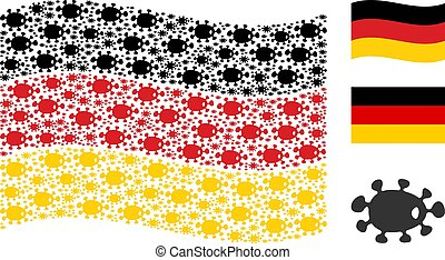 Waving Germany Flag Mosaic of Bacteria Items
