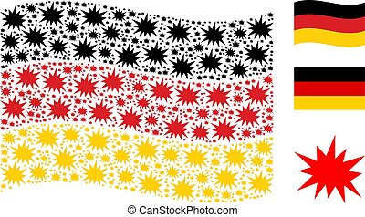 Waving Germany Flag Mosaic of Bang Items