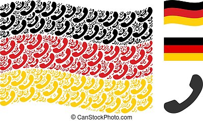 Waving Germany Flag Mosaic of Call Items