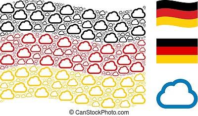Waving Germany Flag Mosaic of Cloud Icons