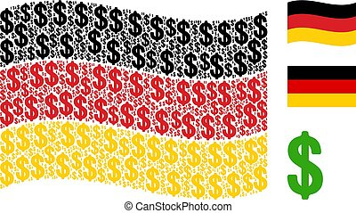 Waving Germany Flag Mosaic of Dollar Items