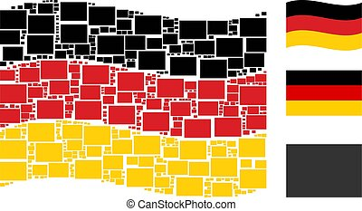 Waving Germany Flag Mosaic of Filled Rectange Icons