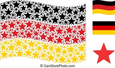 Waving Germany Flag Mosaic of Fireworks Star Icons