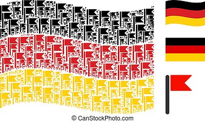 Waving Germany Flag Mosaic of Flag Items