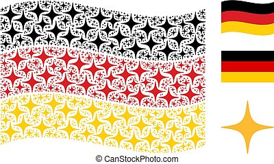Waving Germany Flag Mosaic of Space Star Items
