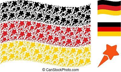 Waving Germany Flag Mosaic of Starting Star Icons