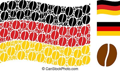 Waving Germany Flag Pattern of Coffee Bean Icons