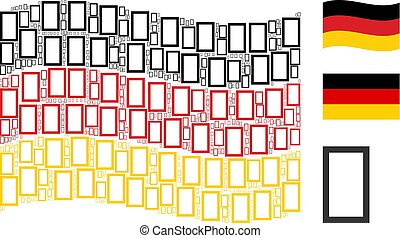 Waving Germany Flag Pattern of Contour Rectangle Icons