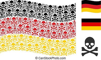 Waving Germany Flag Pattern of Death Skull Icons